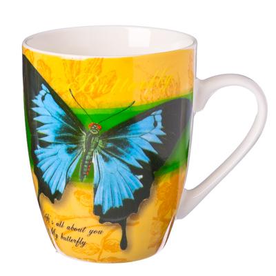 """806-793 Кружка 350мл, костяной фарфор NBC, """"Бабочки"""" 4 дизайна"""