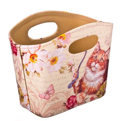 """416-038 Сумка-подставка для мелочей, ПВХ, искусств.кожа, 20x11x15см, """"Кот с лентой"""" Дизайн GC"""