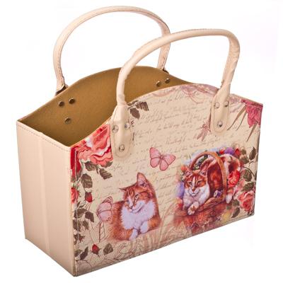 """416-044 Сумка-подставка для мелочей, ПВХ, искусств.кожа, 30x13x21см, """"Кошка в корзинке"""""""
