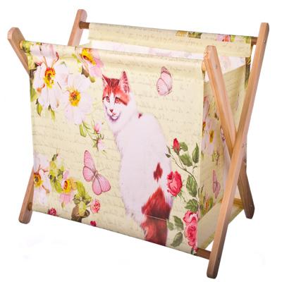 "416-048 Сумка-подставка для мелочей, ПВХ, дерево, 34x23,5x32см, ""Кошка и бабочки"""