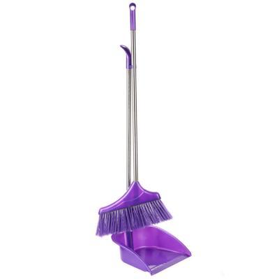 """445-289 Набор для уборки: щетка, совок, пластик, металл, 2 ручки, 78 см, VETTA """"Ленивка"""""""
