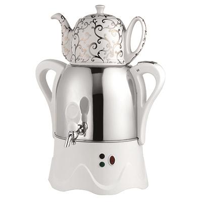 475-102 LEBEN Самовар электрический с заварочным чайником 3л/1л, 1800Вт, металл/керамика, белый