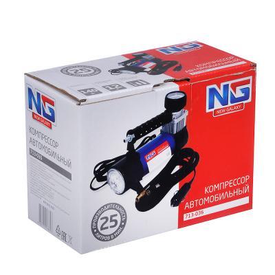 713-036 NEW GALAXY Компрессор автомобильный, штекер прикур, LED фонарь, в сумке 12V, 140W, 25 л/мин, металл