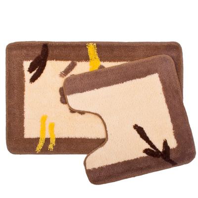 "462-464 VETTA Набор ковриков 2шт для ванной и туалета, акрил, 50x80см + 50x50см, ""Бежевый цветок"", SCF11-064"
