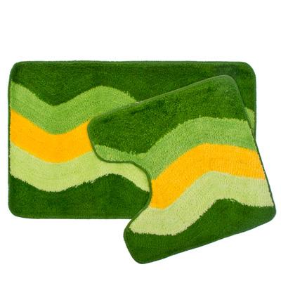 """462-465 VETTA Набор ковриков 2шт для ванной и туалета, акрил, 50x80см + 50x50см, """"Зелёный полосы"""", SCF14-004"""