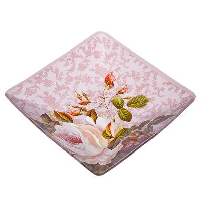 877-286 VETTA Нежные розы Салатник квадратный стекло, 20,3см, S312008N