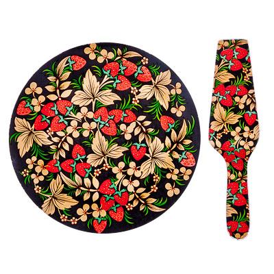 877-295 VETTA Хохломские узоры Набор для торта 2 пр. 25см, стекло, S3000/2 PDQ