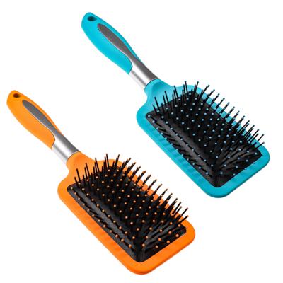 356-197 Расческа массажная плоская, пластик, силикон, 25,5 см, розовый, фиолетовый