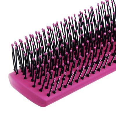 356-207 Расческа массажная полукруглая, пластик, силикон, 23,5 см, розовый, фиолетовый