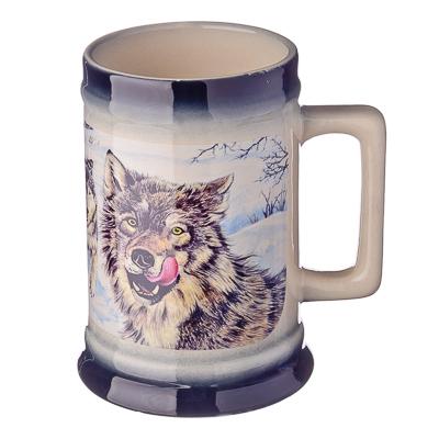 """806-835 Кружка пивная 0,75л, керамика, """"Степной волк"""""""