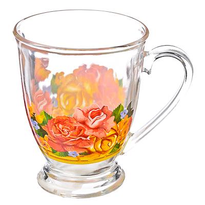 "879-053 VETTA Кружка стеклянная, 360мл, на ножке, ""Золотая роза"""