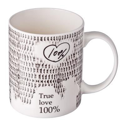 "806-836 Графика Кружка 350мл, костяной фарфор NBC, ""100% любви"", 4 дизайна, BPM2389-N"