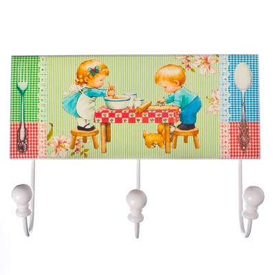 "416-055 Крючок декоративный настенный ""Кухня"", МДФ, 3 крючка, 4,5х23х17см, 4 дизайна"
