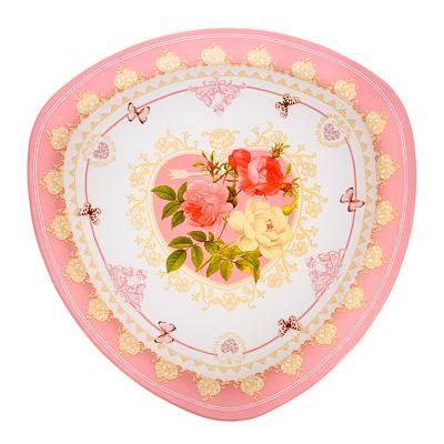 830-131 VETTA Букет роз Блюдо треугольное стекло, 30см, S330012