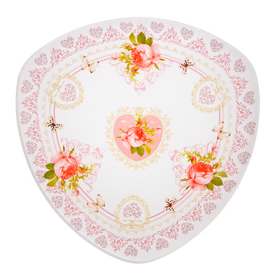 830-132 VETTA Букет роз Блюдо треугольное стекло, 25,4см, S330010