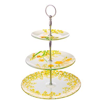 830-144 VETTA Весенние цветы Ваза для фруктов стеклянная трехъярусная S30100806/3
