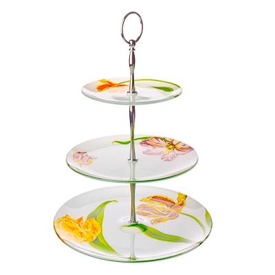830-158 VETTA Тюльпаны Ваза для фруктов стеклянная трехъярусная S30100806/3