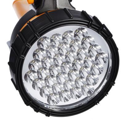198-018 ЧИНГИСХАН Фонарь прожектор аккумуляторный 37 ярк. LED, адаптеры 220 и 12В, пластик, 23x15 см