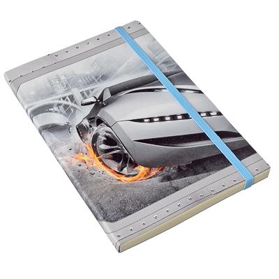 524-051 Блокнот-премиум с резинкой 96 л., 21x14см, мягкая обл., в линейку, дизайн 4