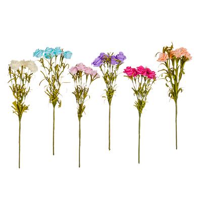 """501-275 Цветок искусственный """"Роза дикая"""" 33см, пластик, неопрен, 6 цветов, арт.А001-26"""