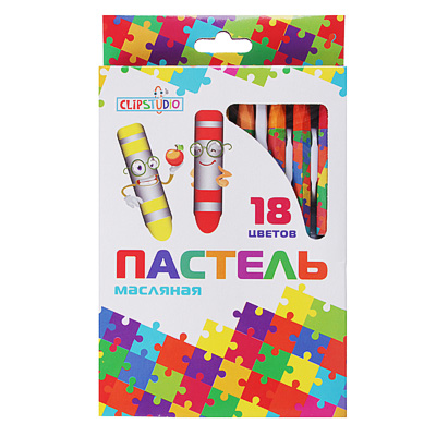 284-072 Восковые карандаши, масляная пастель, 18 цветов по 8г
