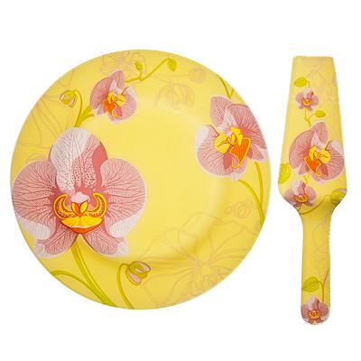 830-174 VETTA Орхидея Набор для торта 2 пр, стекло, 25,4см, S3000/2 PDQ H211