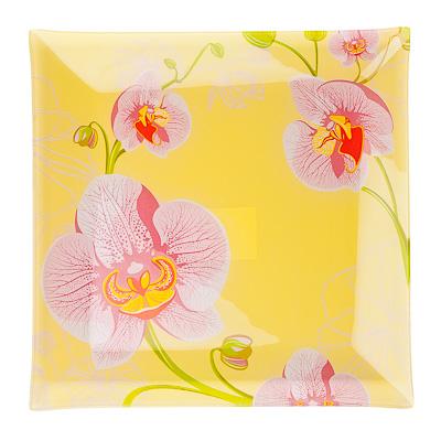 830-175 VETTA Орхидея Блюдо квадратное стекло, 25,4см, S3110 H211