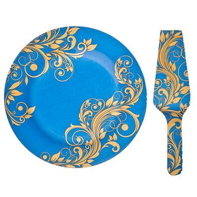 830-184 VETTA Золотая вязь Набор для торта 2 пр, стекло, 25,4см, S3000/2 PDQ H212