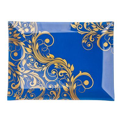 830-188 VETTA Золотая вязь Блюдо прямоугольное стекло, 32х24см, S3232 H212