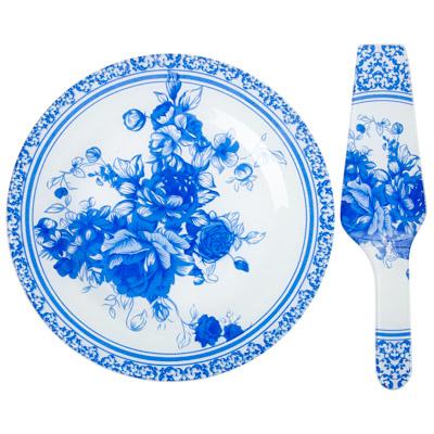 830-204 VETTA Гжельские мотивы Набор для торта 2 пр, 254мм, стекло, S3000/2, 2 дизайна GC