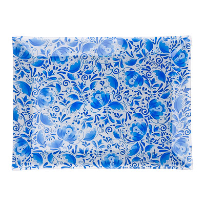 830-208 VETTA Гжель Блюдо прямоугольное стекло, 32х24см, S3232 H210