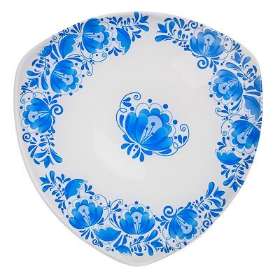 830-210 VETTA Гжель Блюдо треугольное стекло, 25,4см, S330010 H210