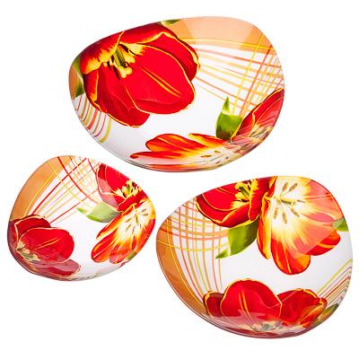 830-222 VETTA Моника Набор салатников треугольных 3шт, 25,4см+20см+15,2см, стекло, S3320/3 L025