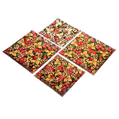 830-232 VETTA Хохломские узоры Набор блюд квадратных 4пр, 2шт 25,4см+2шт 20,3см, стекло, S311008/4 L116