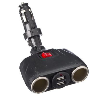 768-322 NEW GALAXY Разветвитель прикуривателя с выключателем 2 гнезда + 2 USB, 2,1A