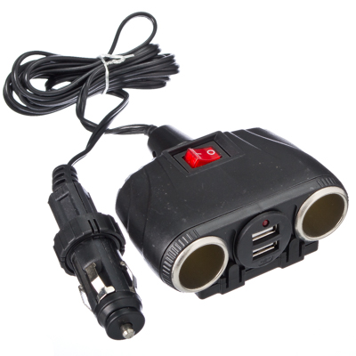 768-323 NEW GALAXY Разветвитель прикуривателя 2 гнезда + 2 USB с удлинителем, 2,1A