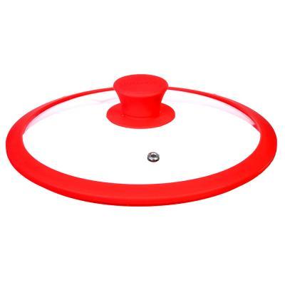 848-038 Крышка для сковороды с ручкой, стекло, силикон, 28 см, SATOSHI