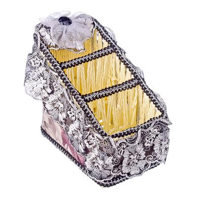 416-065 Корзина универсальная, металл, бумага, текстиль (хлопок, кружева), пластик, 18х10х15х7см