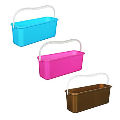 407-011 Ведро для мытья полов с ручкой прямоугольное, пластик, 45х15х17 см, 4 цвета