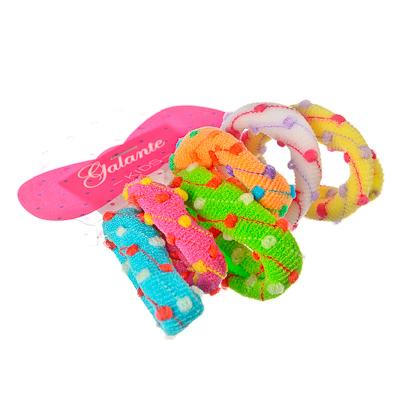 322-071 Набор резинок для волос 6шт, 4см, полиэстер, разноцветные, шарики, PR-0105