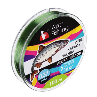 144-011 AZOR Леска, нейлон, «Карп» 100м, 0,37мм, зеленая, разрывная нагрузка 16 кг
