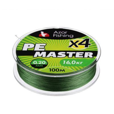 144-024 AZOR FISHING Леска плетеная, PE Мастер, 0,2мм, 100м, 16 кг, зеленая