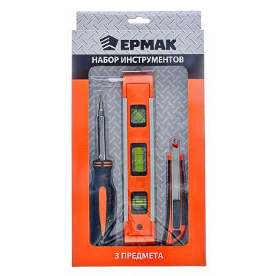 Набор инструментов 3 пр.(отвертка 6в1,уровень пластик.22см,нож маляр. с тремя зап.лезвиями)