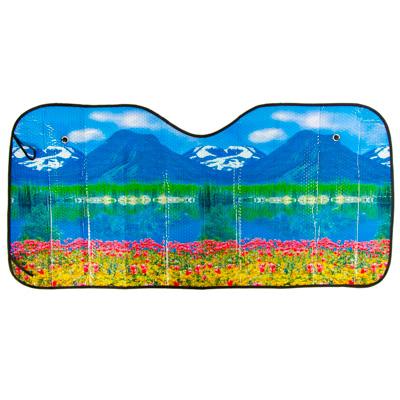 """718-030 NEW GALAXY Шторка солнцезащитная на лобовое стекло, 130х60см, """"Снежные горы"""", 124054"""