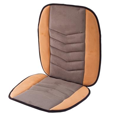 768-339 NEW GALAXY Чехол накидка на сиденье микрофибра 47x97см, бежево-серая, 5214019