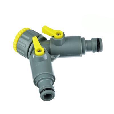 169-001 INBLOOM Разветвитель 2-х канальный, штуцерный, 3/4'-1/2', регулируемый, пластик 4х9х11