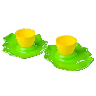 893-024 LUX Набор подставка для яйца + тарелка 2шт, пластик, 4 цвета, L-211