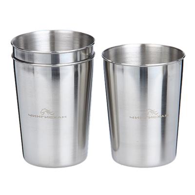 123-012 ЧИНГИСХАН Набор стаканов 3шт, нерж. сталь, 220мл, в кожаной тубе