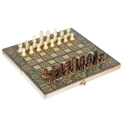 539-004 Набор игр 3 в 1 (шашки, шахматы, нарды) узорчатые, МДФ, дерево, 29х14,5х4см