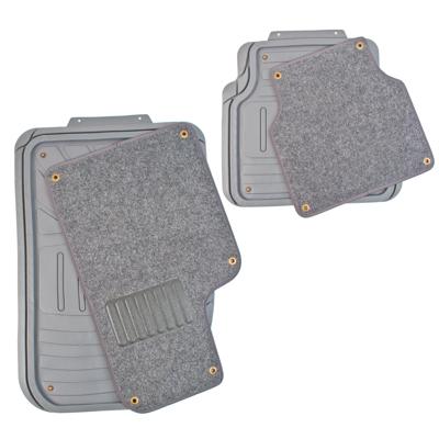 768-357 NEW GALAXY Набор ковров термопласт+ковролин на клипсах 4шт, универсальные, серые Desert